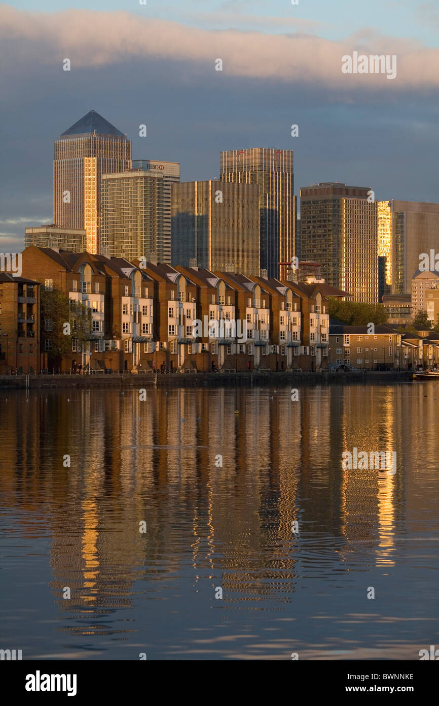 View to Towers of Canary Wharf From Finland Dock London - Stock Image