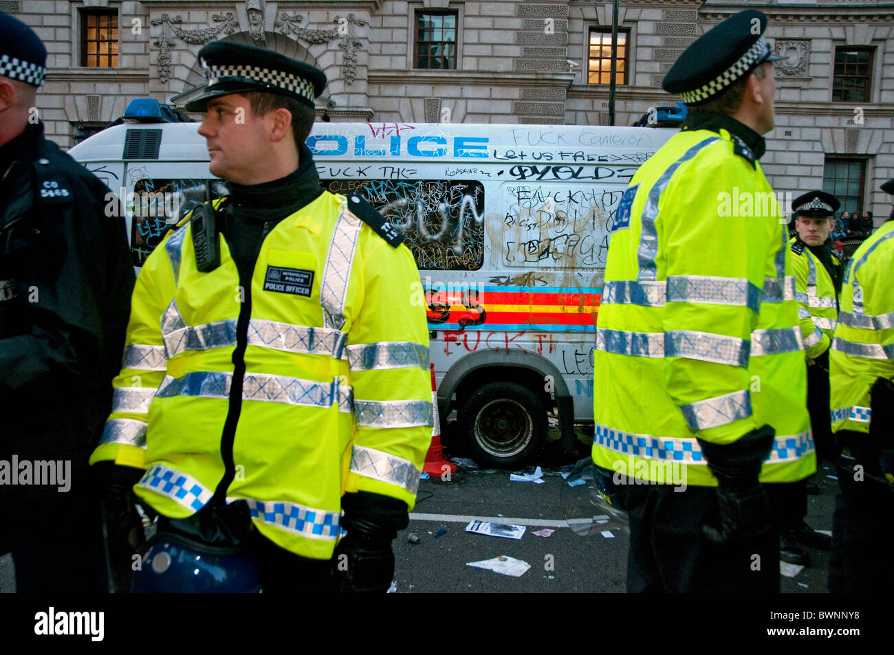 Student Protest about fees ended in violence and kettling in Whitehall  London 24.11.10 - Stock Image