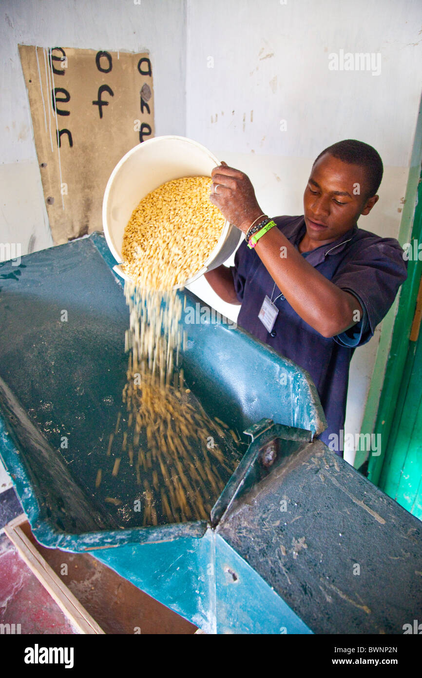Young man grinding corn to flour in a Posho mill, Nairobi, Kenya - Stock Image
