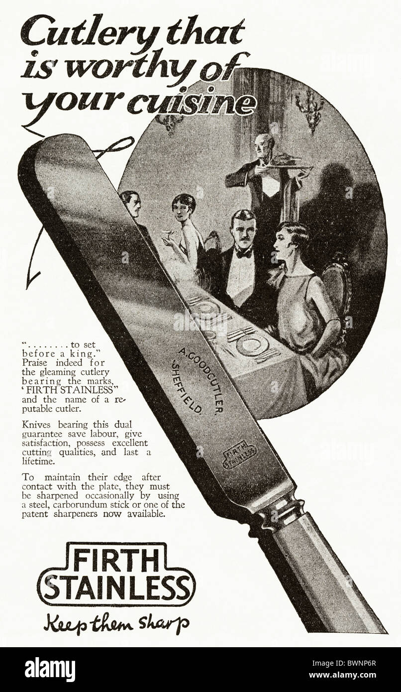 Black and white consumer magazine advertisement for Firth Stainless cutlery circa 1928 - Stock Image