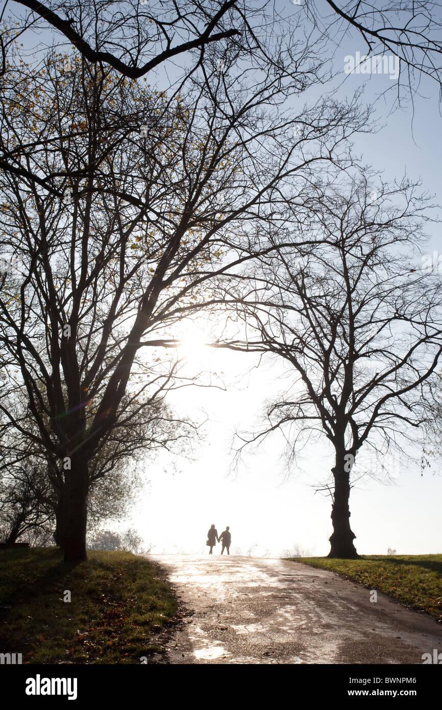 Couple walking on Hampstead Heath between trees. London, England, UK - Stock Image