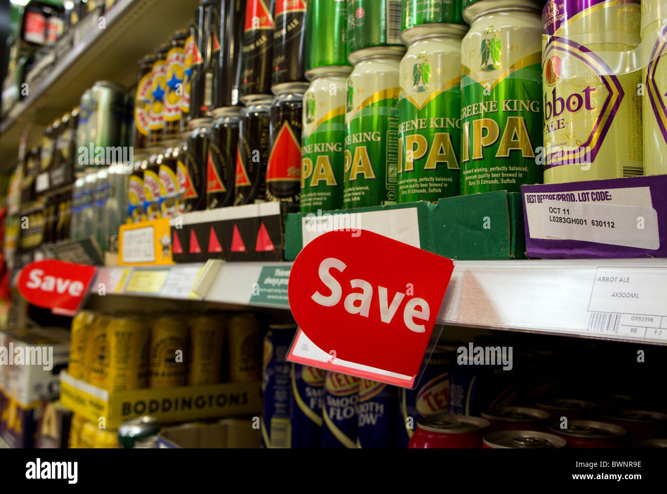 discount beer for sale in a UK supermarket - Stock Image