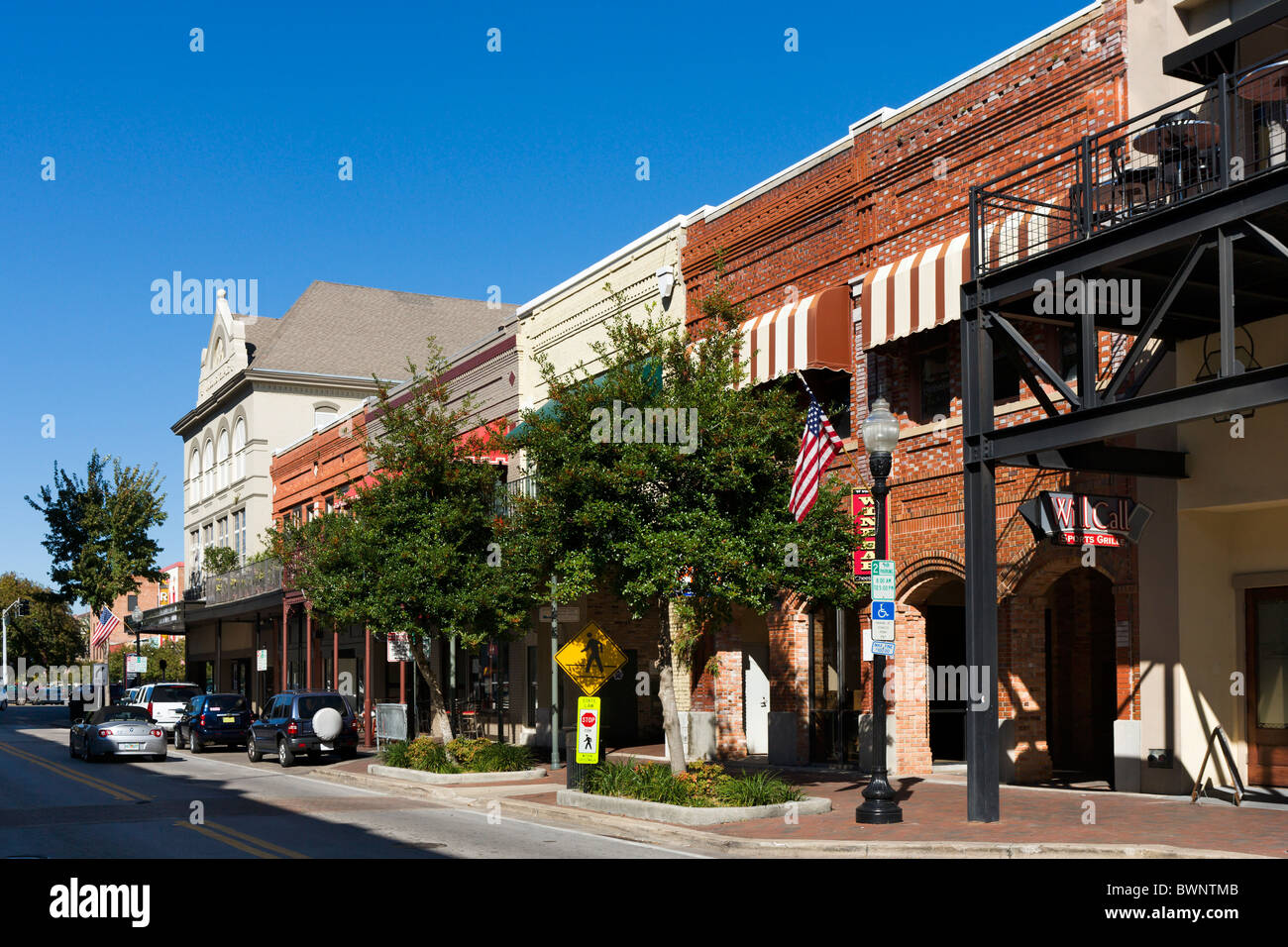 palafox street in historic downtown pensacola gulf coast florida usa stock image