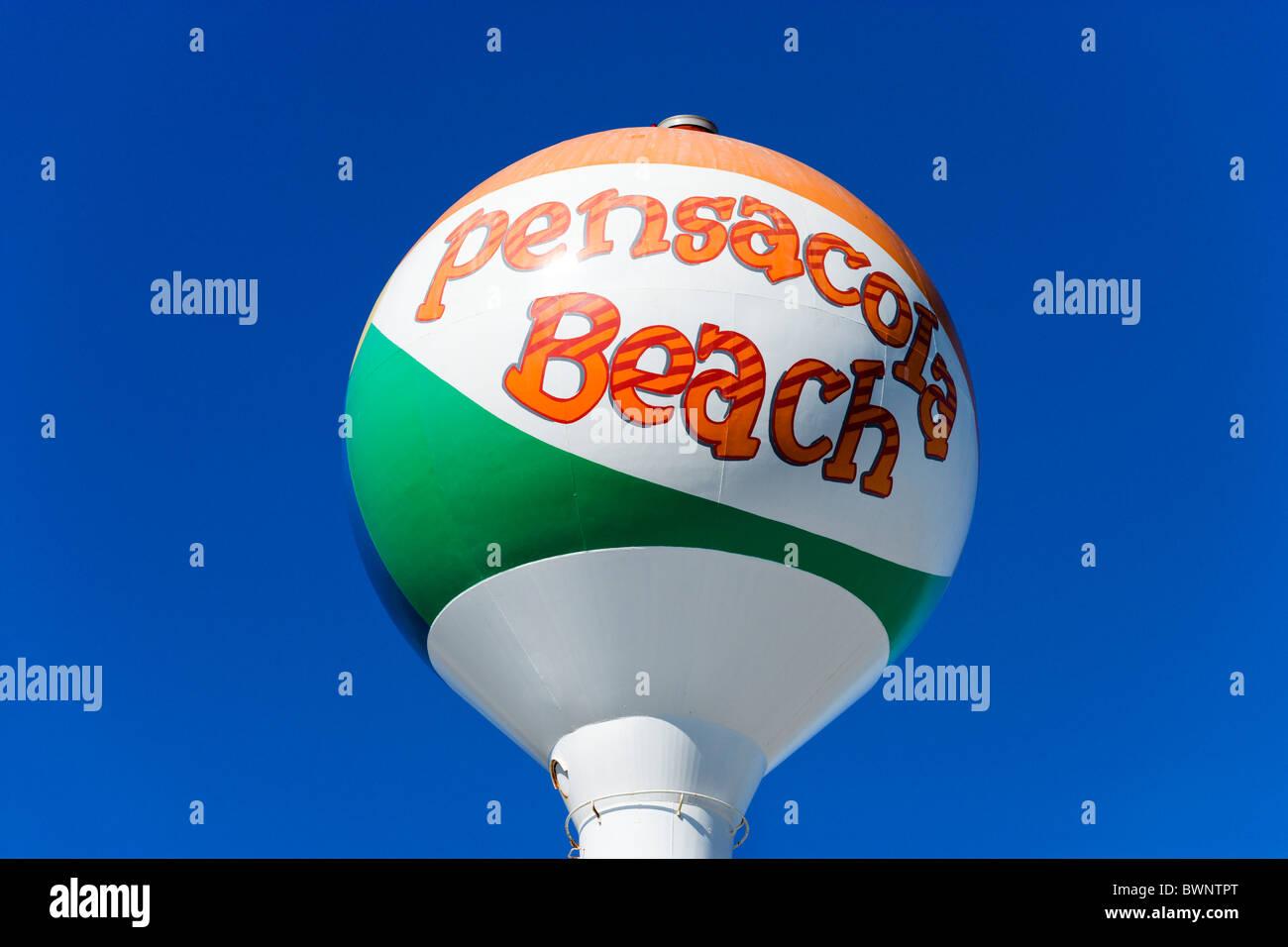 Sign for Pensacola Beach, Gulf Coast, Florida, USA - Stock Image