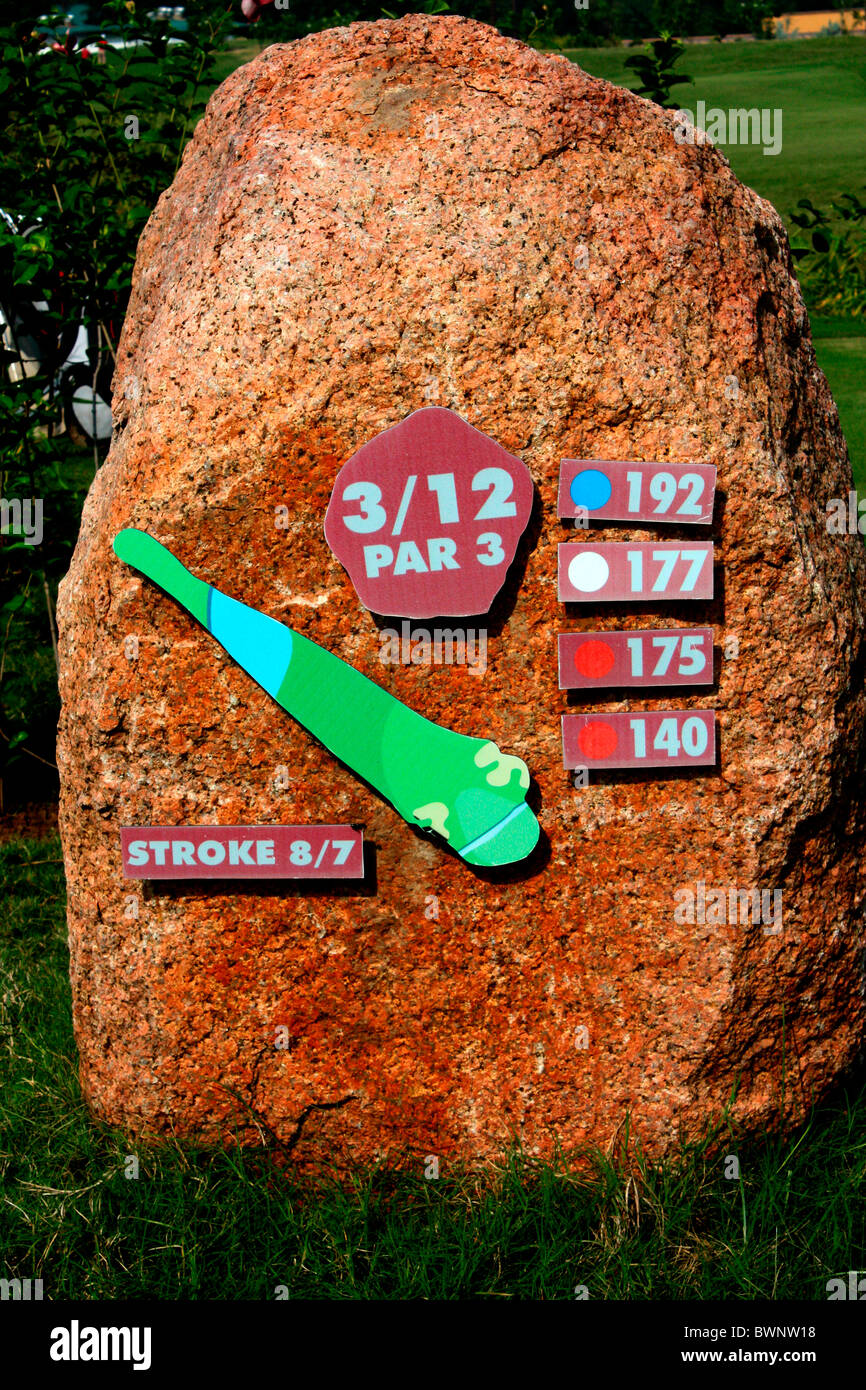 Yardage board of a golf course,India - Stock Image