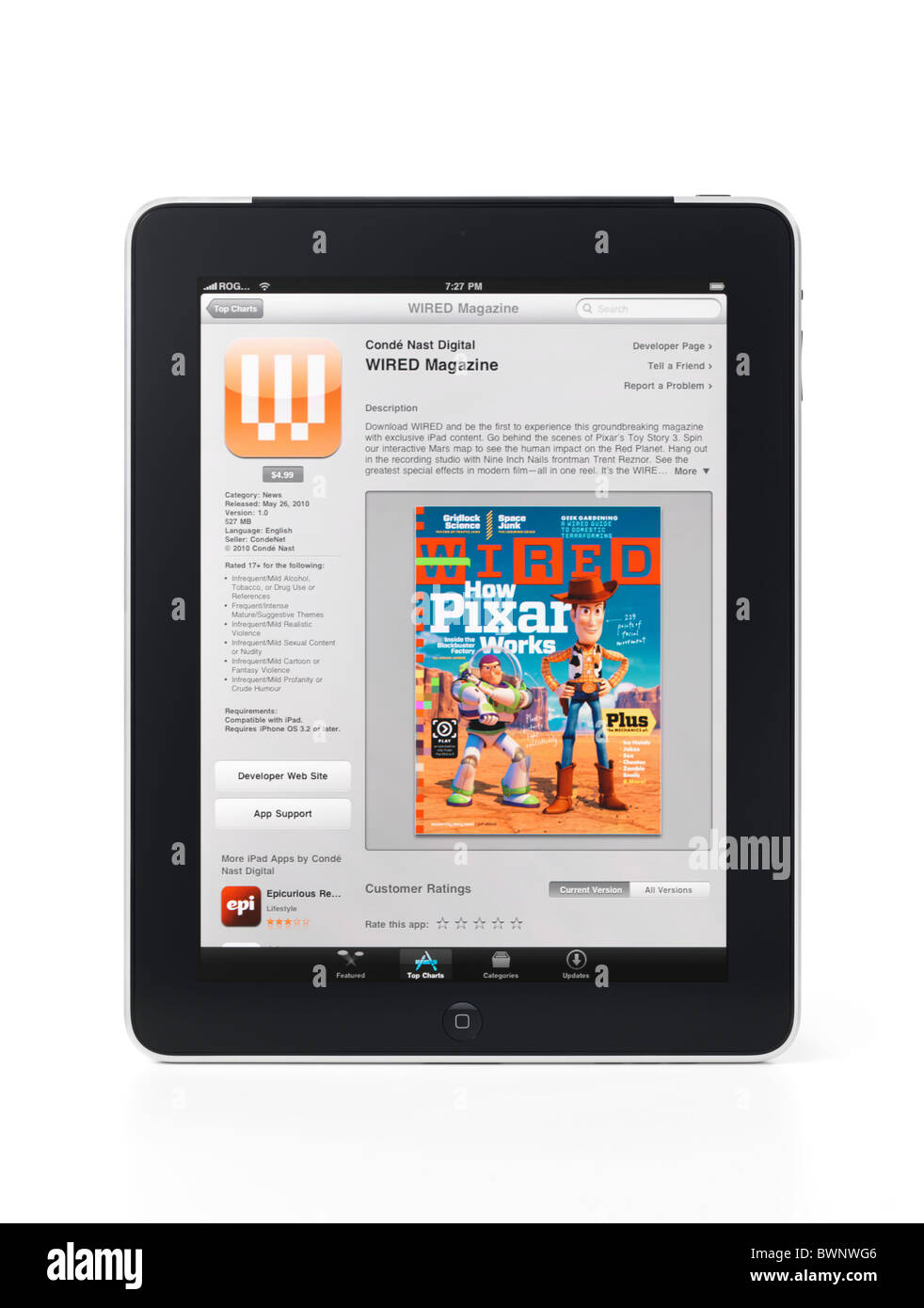 Apple iPad 3G tablet with WIRED magazine app on its display isolated ...