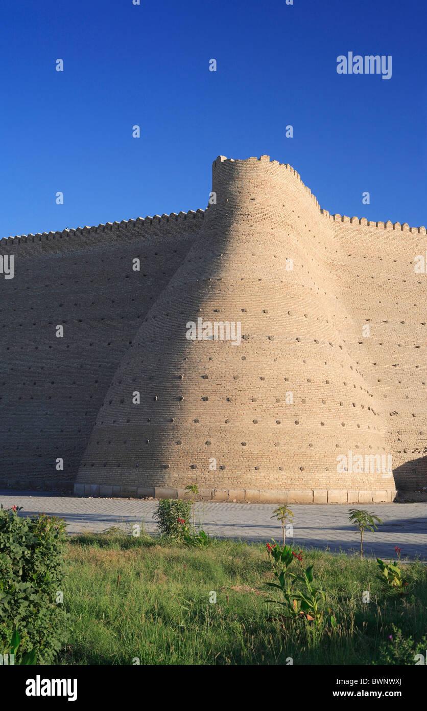 Ark fortress Bukhara Uzbekistan Central Asia City walls Orient Oriental Uzbek Ouzbek Architecture Building - Stock Image