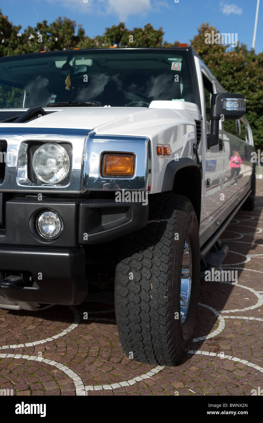 white Hummer parked - Stock Image