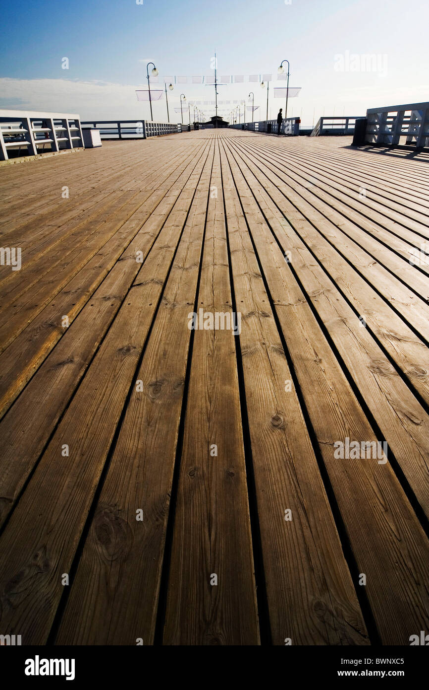 the wooden pier in Sopot - Poland - Stock Image