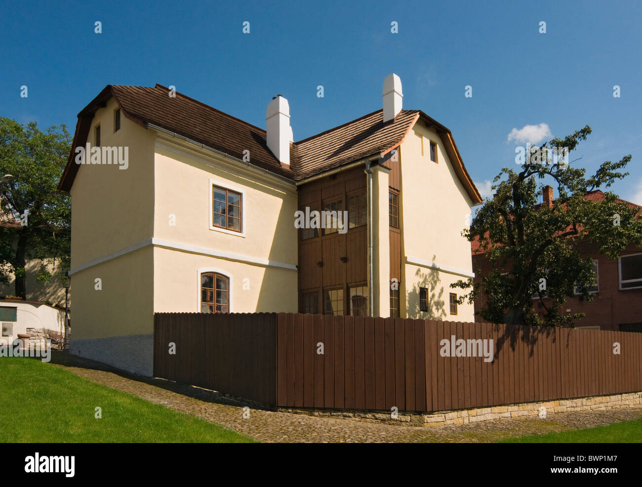 Birthplace of Dr. Sigmund Freud, Zamecnicka ulice (Schlossergasse), Pribor (Freiberg), Moravian-Silesian Region, - Stock Image