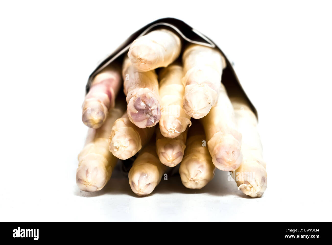 a bundle of asparagus on a white background optional Stock Photo
