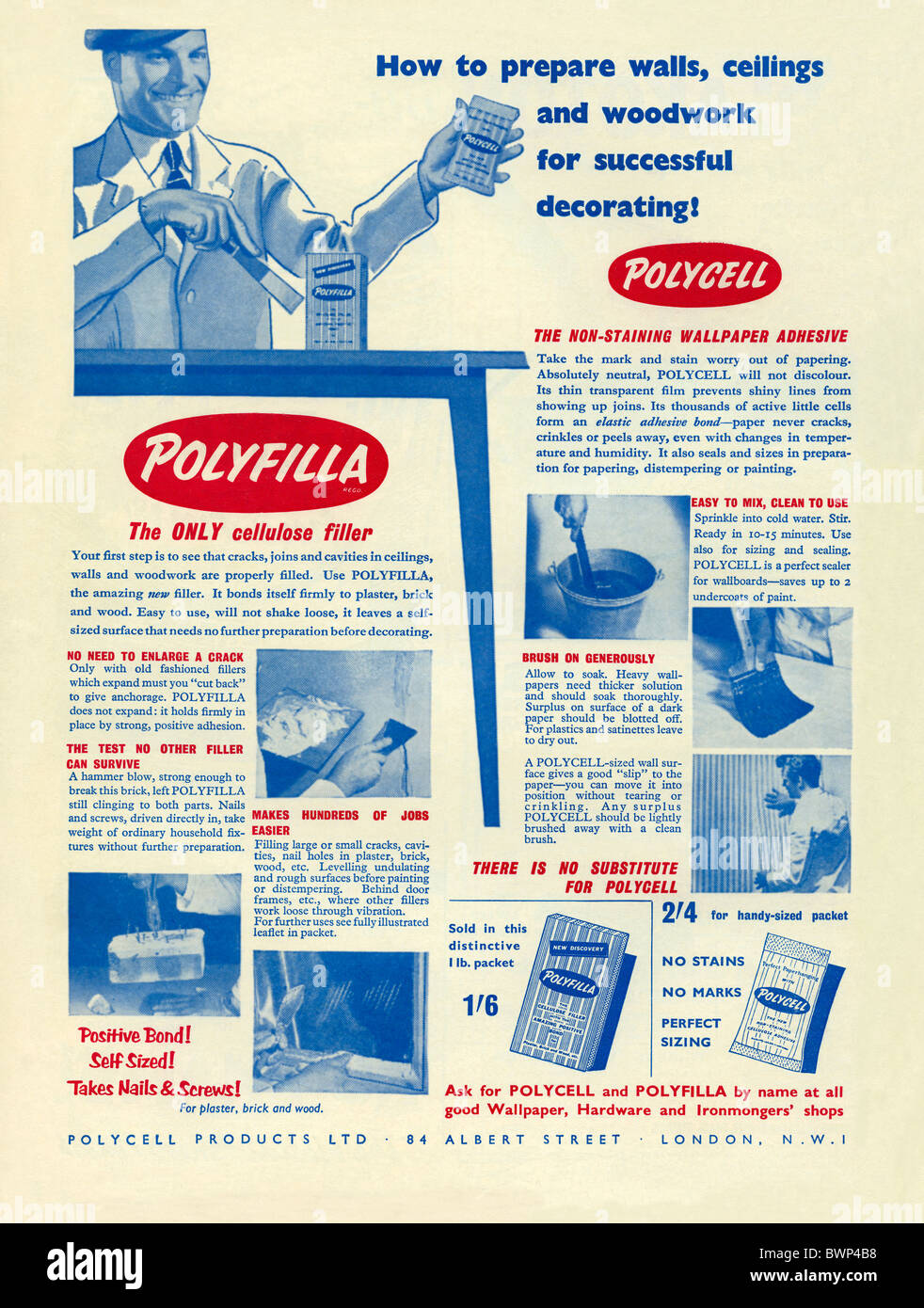 Advert For Pollyfilla Filler And Polycell Wallpaper Paste DIY Products In The Practical Householder Magazine