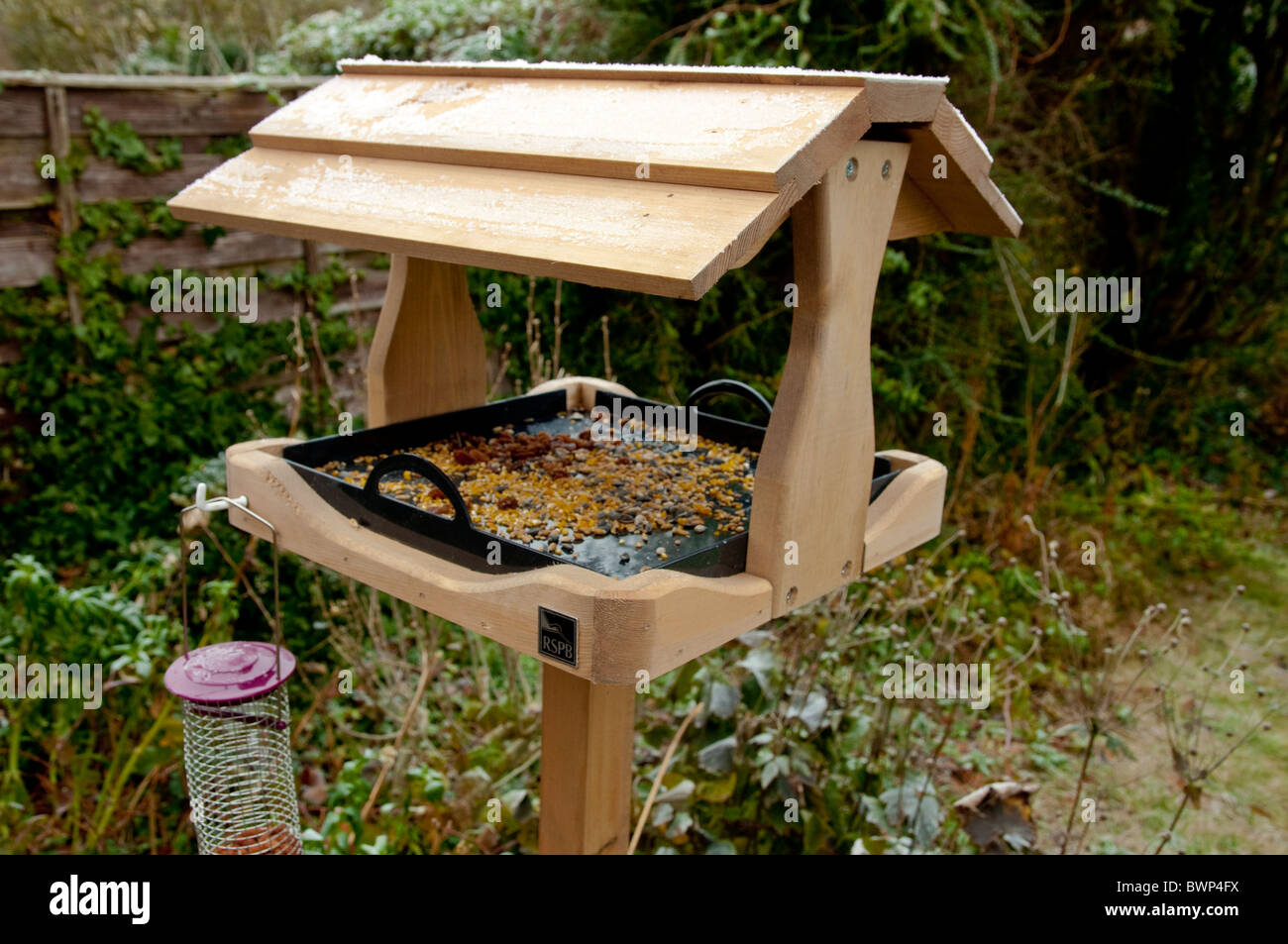 RSPB Bird Table (new) with removable plastic tray for cleanliness and hygiene purposes. Frosty winter day in a UK - Stock Image