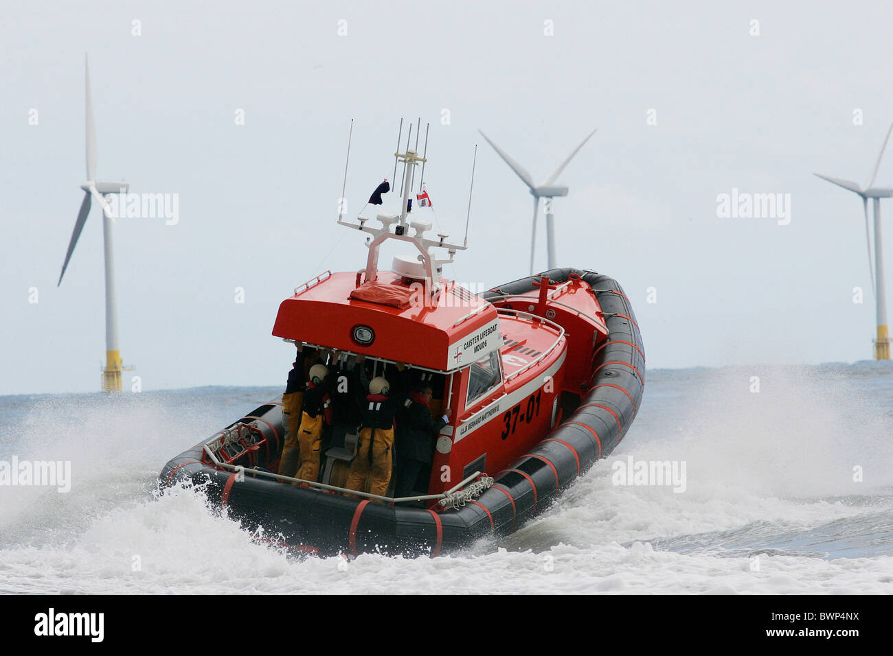 New Royal National Lifeboat Institute RNLI lifeboat launched from the Caister Lifeboat Station in Norfolk Stock Photo