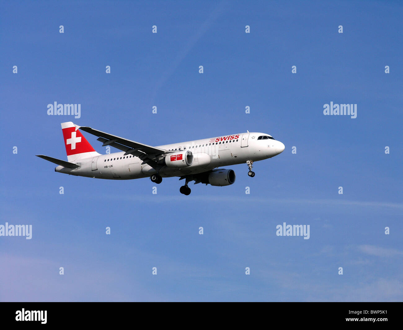 Airbus A320-214 Swiss International Air Lines Flying Jet Airplane Plane Aircraft Sky Travel Traveling - Stock Image