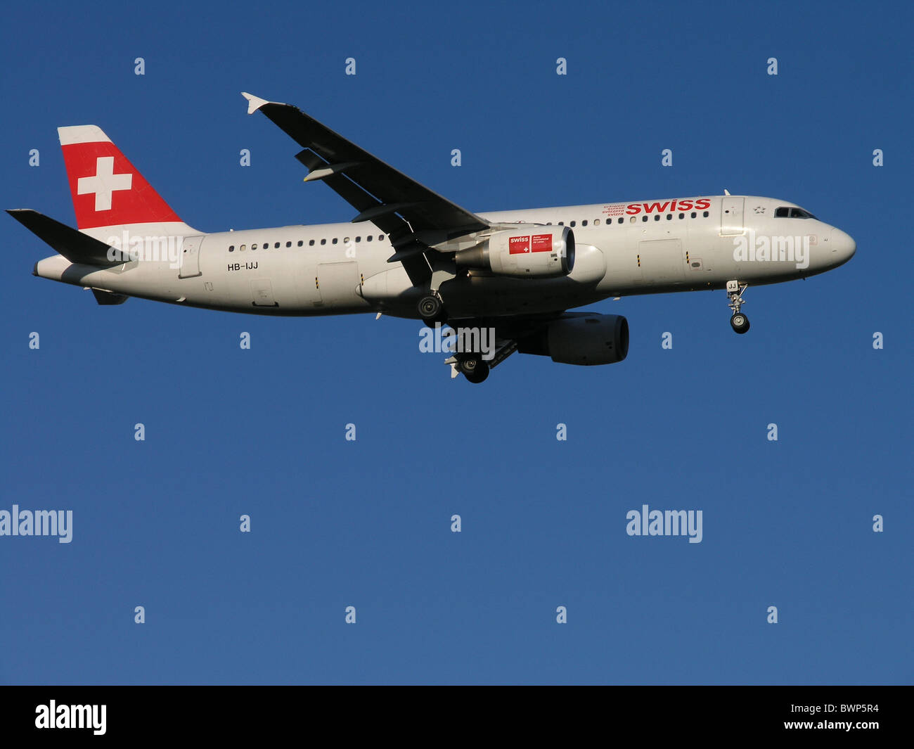 Airbus A320 Swiss International Air Lines Flying Jet Airplane Plane Aircraft Sky Travel Traveling - Stock Image