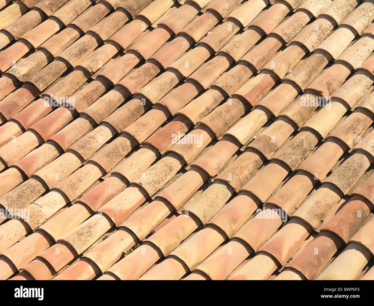 Roof tiles House top Terracotta Building Reddish - Stock Image