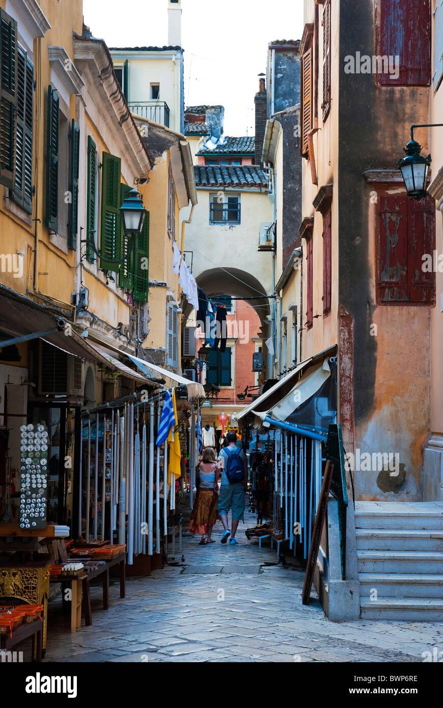 A backstreet in Corfu Town, Ionian Islands Greece. - Stock Image