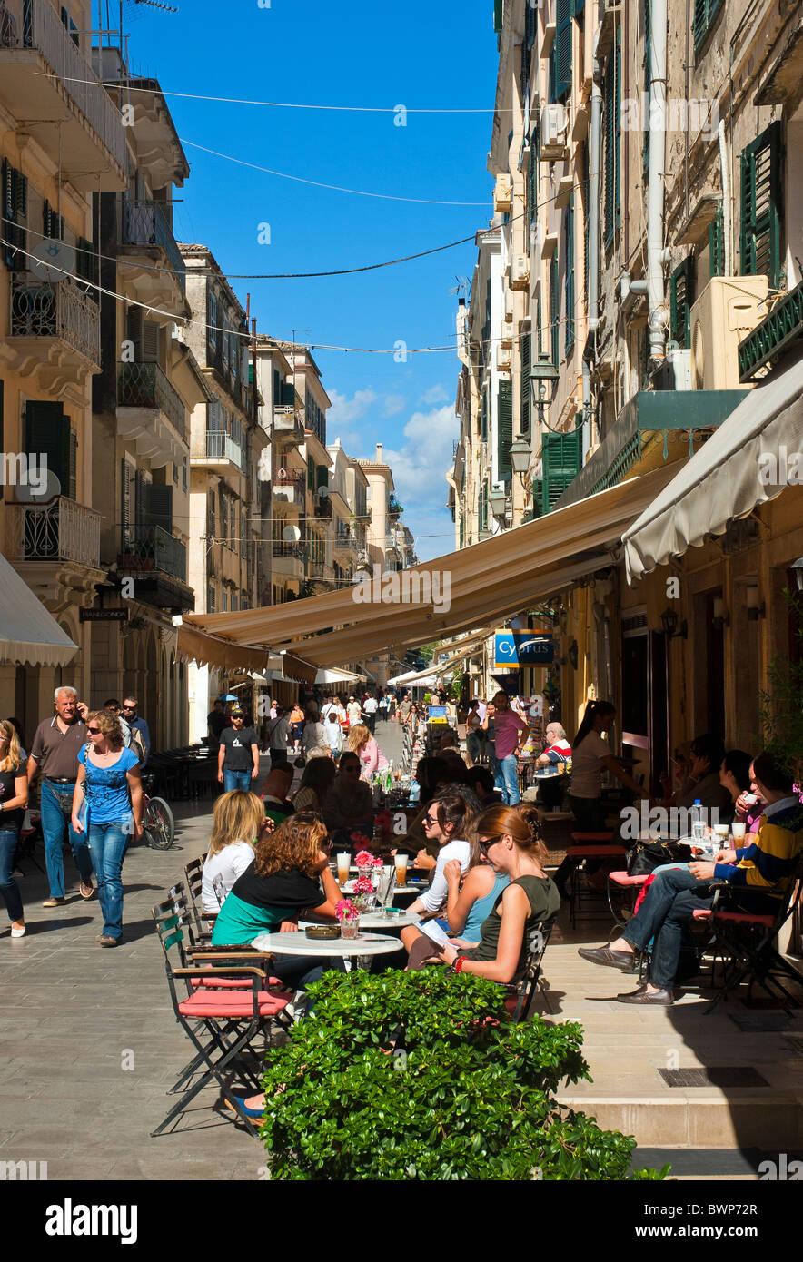 Cafe in Corfu Town, Ionian Islands Greece. - Stock Image