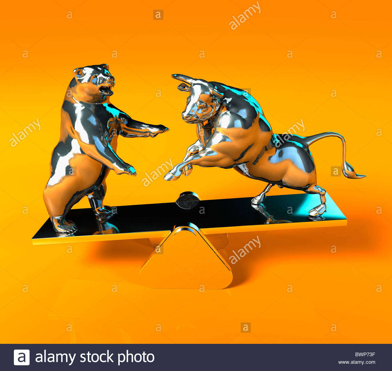 Bull and bear balancing on seesaw - Stock Image