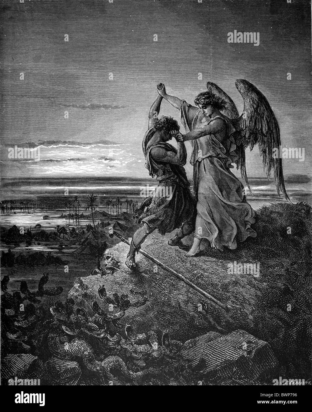 Gustave Doré; Jacob Wrestling with Satan; Black and White Engraving - Stock Image