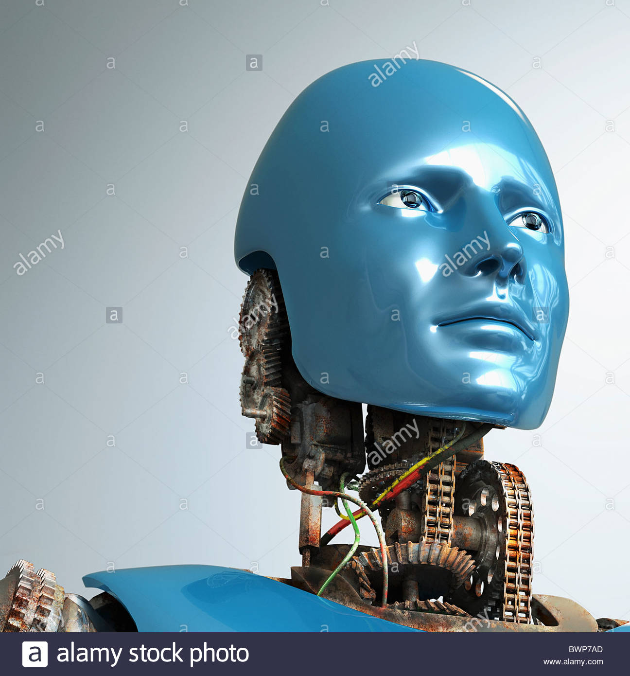 Robot with rusted, blue face - Stock Image