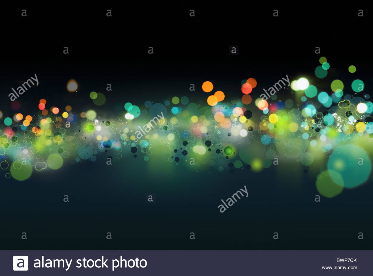 Abstract colorful, green dots - Stock Image