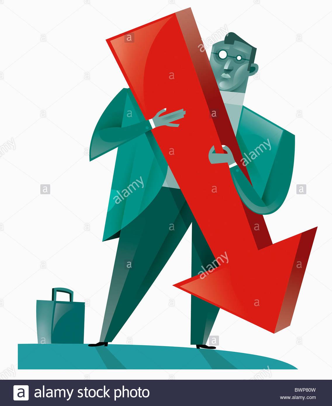 Businessman holding large arrow - Stock Image