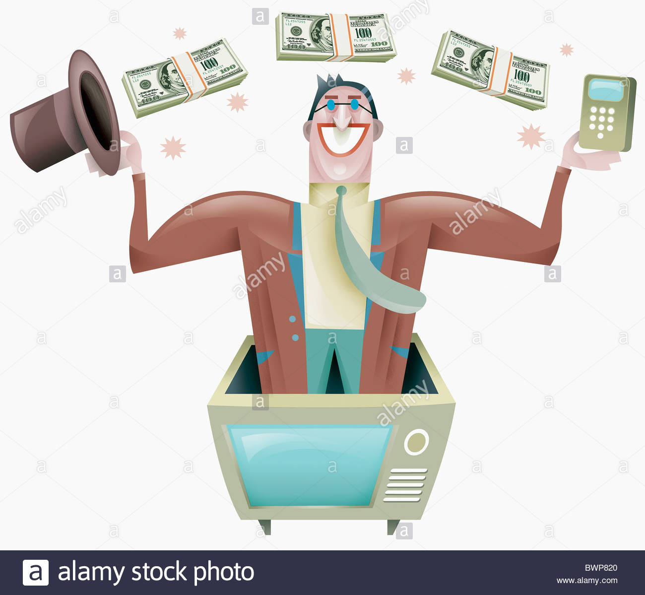 Magician standing in television with money floating overhead - Stock Image