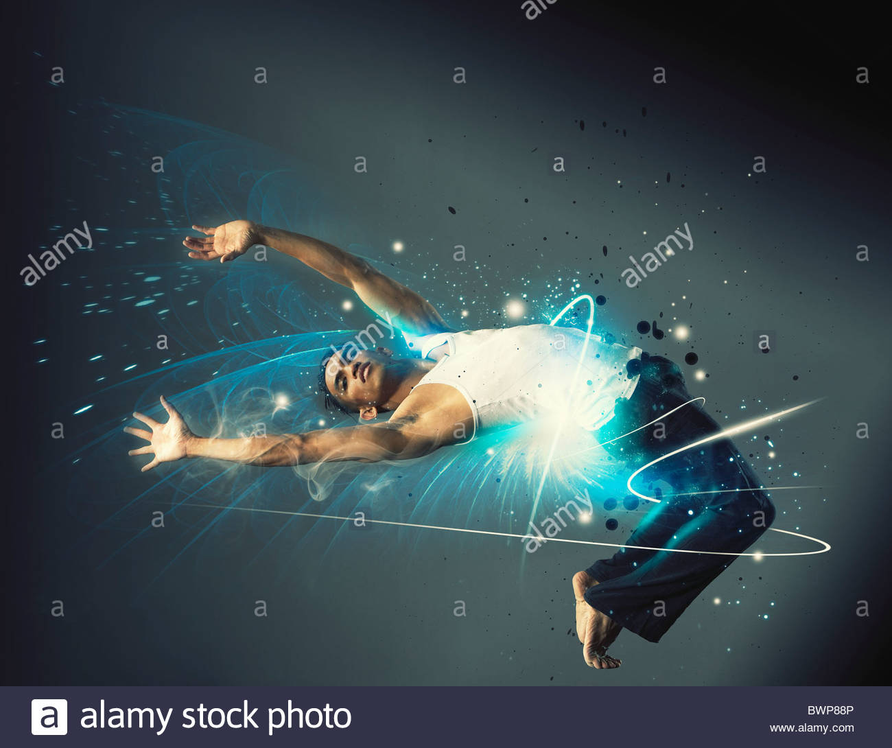 Flexible man dancing - Stock Image