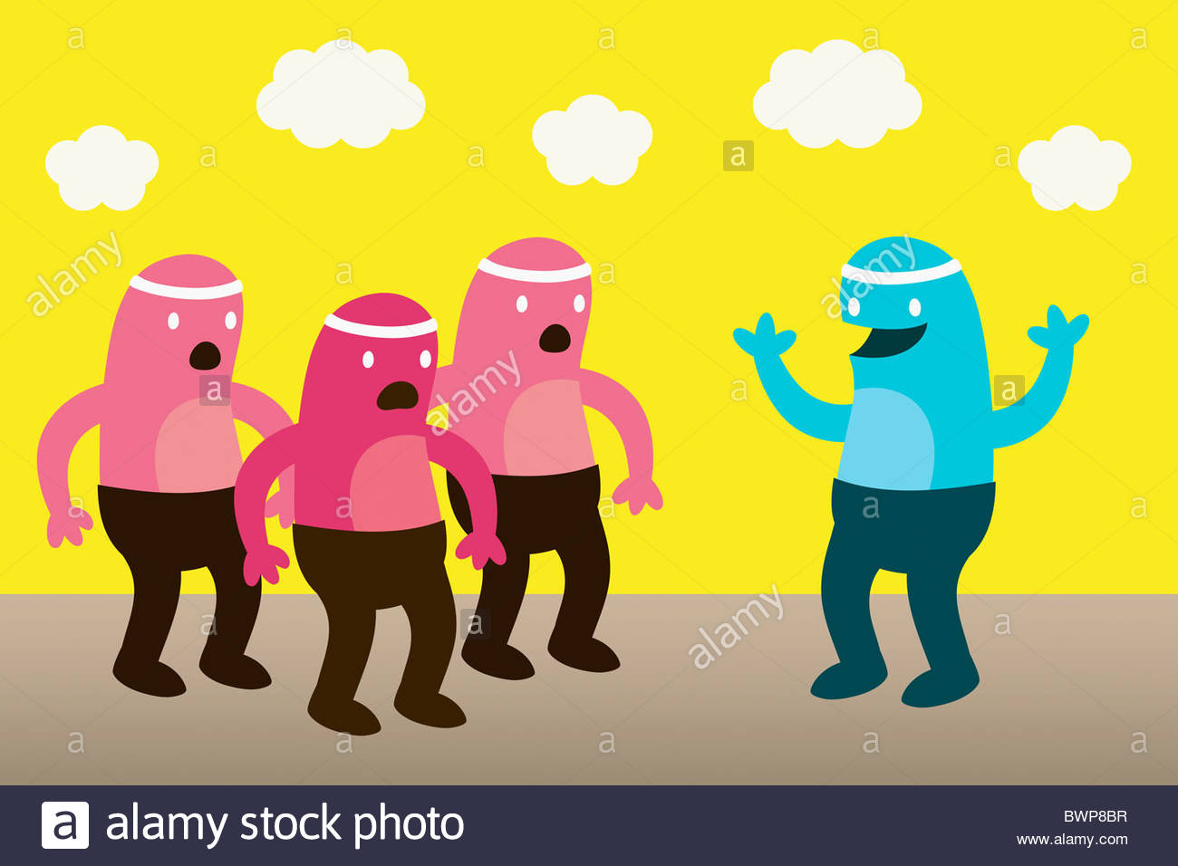 Smiling creature waving at surprised friends - Stock Image