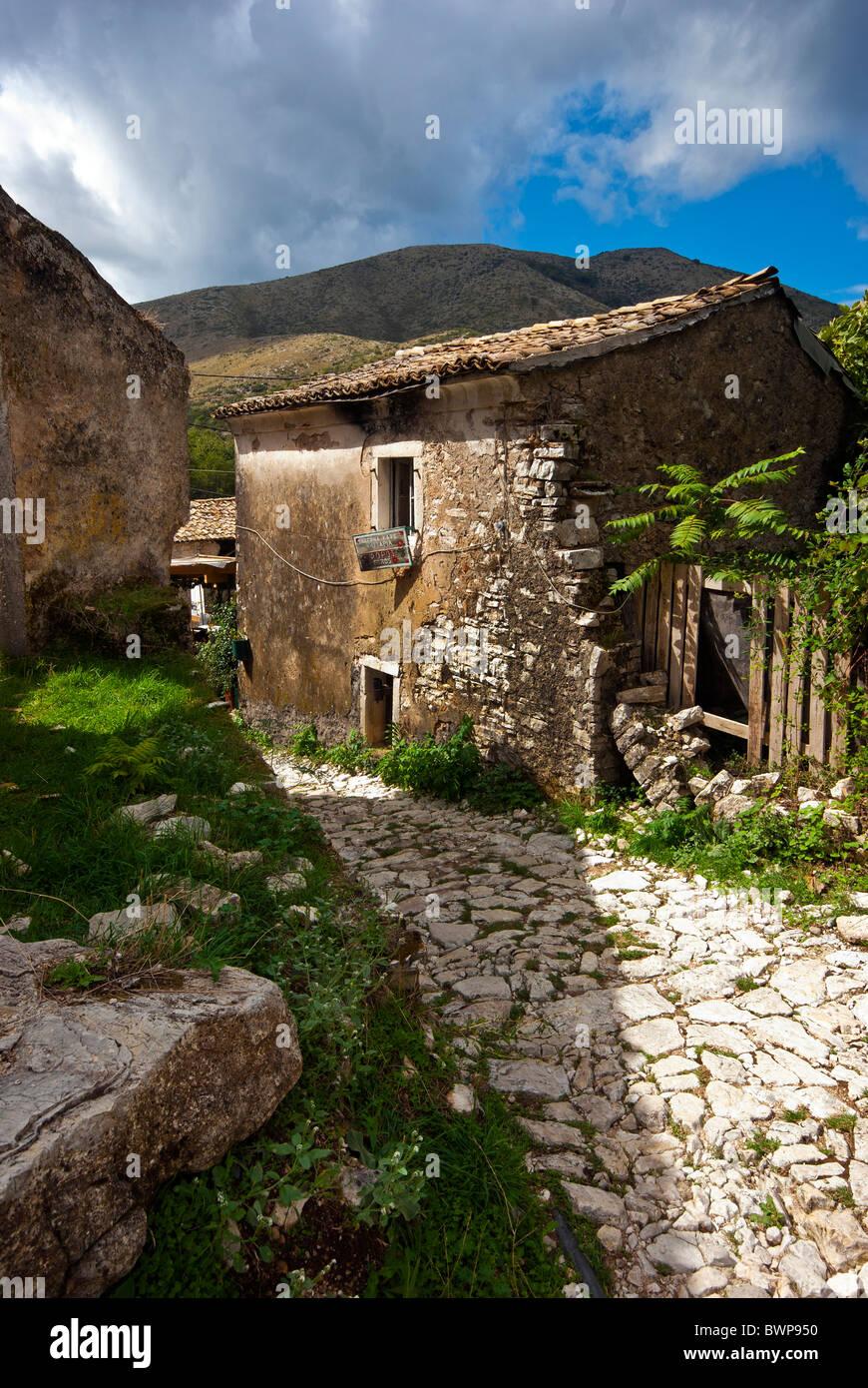 Street in Old Perithia, Corfu, Ionian Islands Greece. - Stock Image