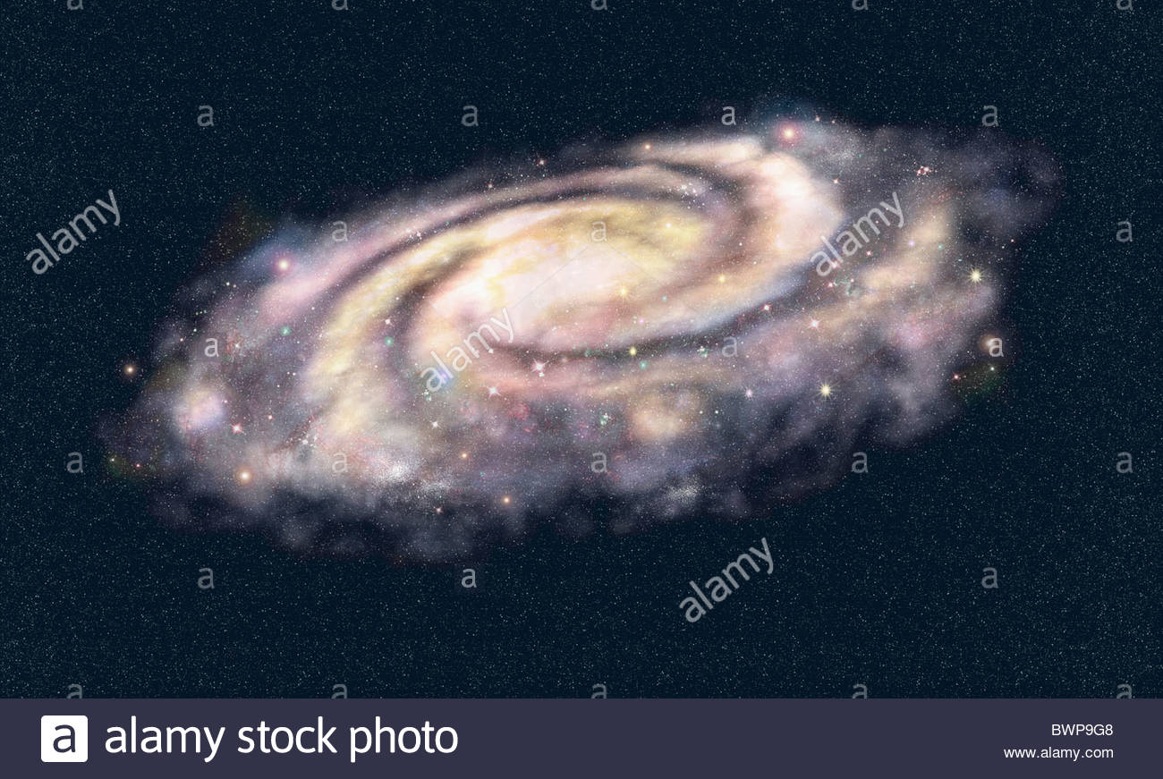 Swirling galaxy in outer space - Stock Image