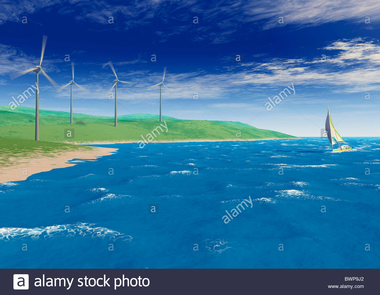 Sailboat in ocean wind turbines turning on shore - Stock Image