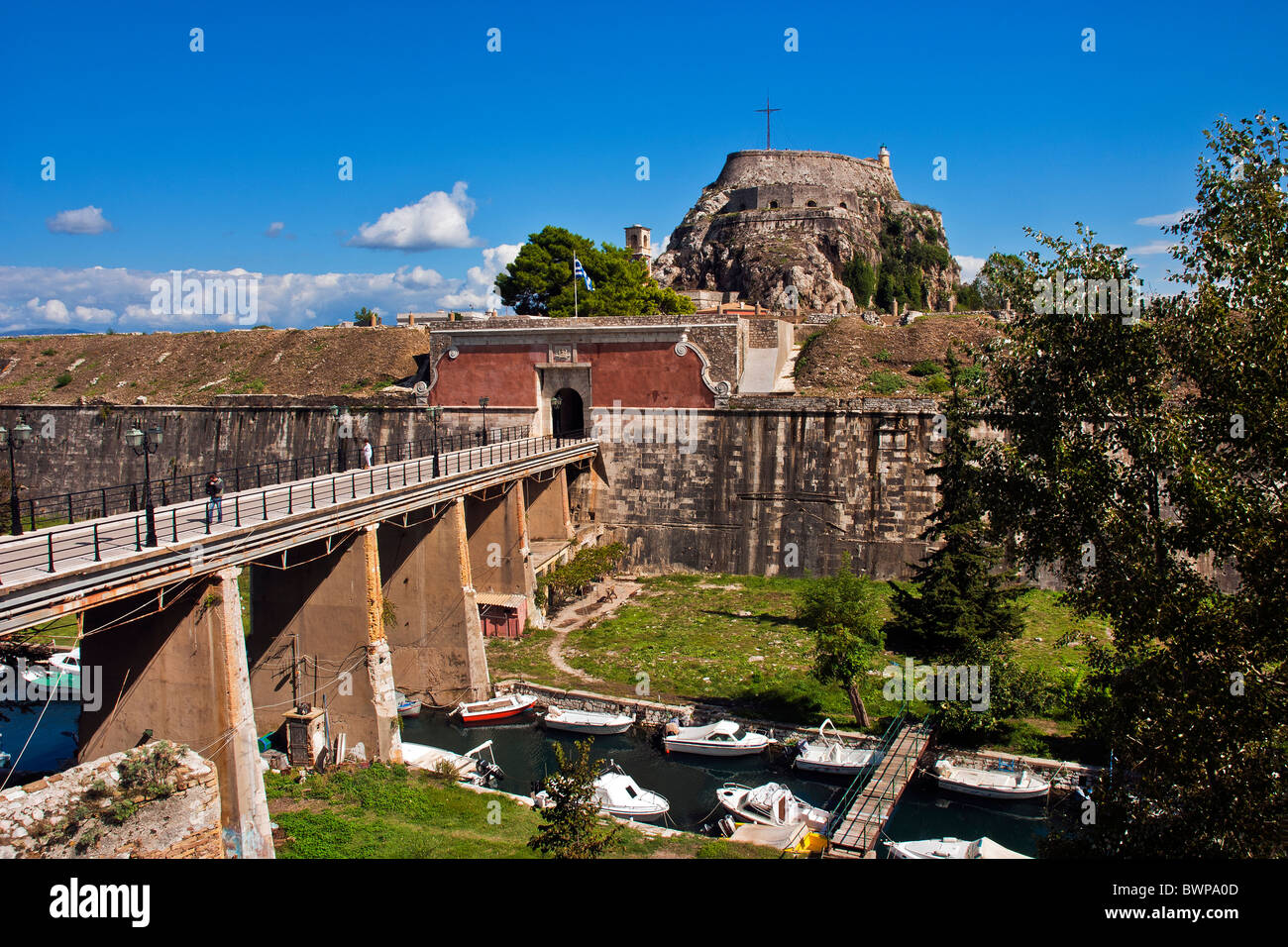 The Old Fortress in Corfu Town, Ionian Islands Greece. Stock Photo