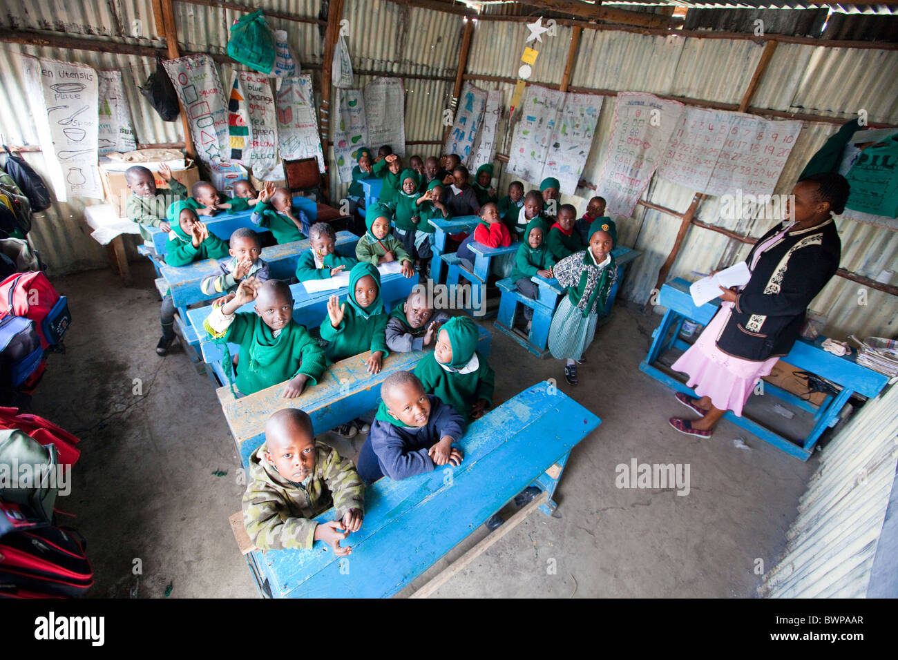Children from Mathare slums, Maji Mazuri Centre and School, Nairobi, Kenya - Stock Image