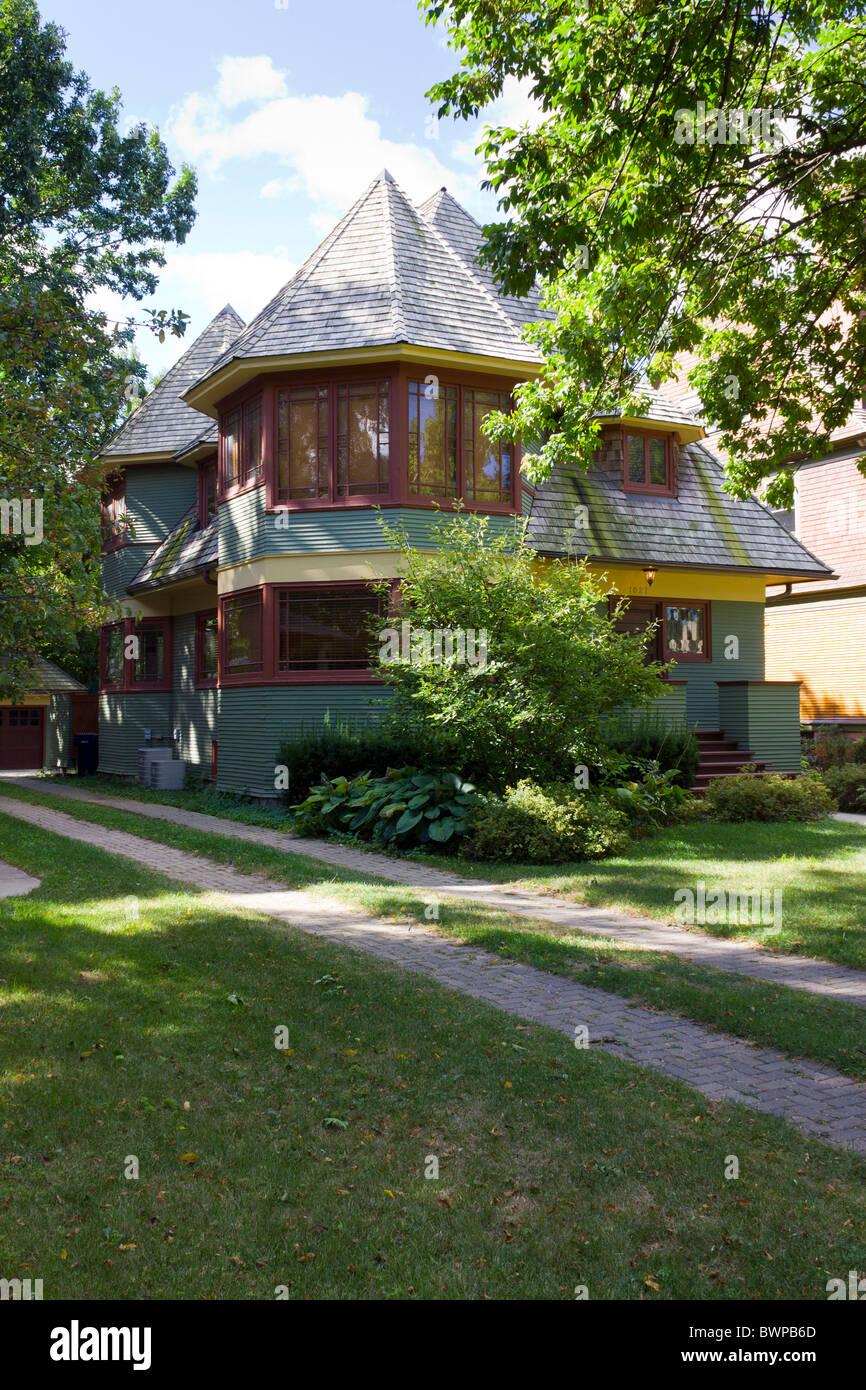 Frank Lloyd Wright's Thomas H. Gale house (1893), Oak Park, Illinois, USA - Stock Image