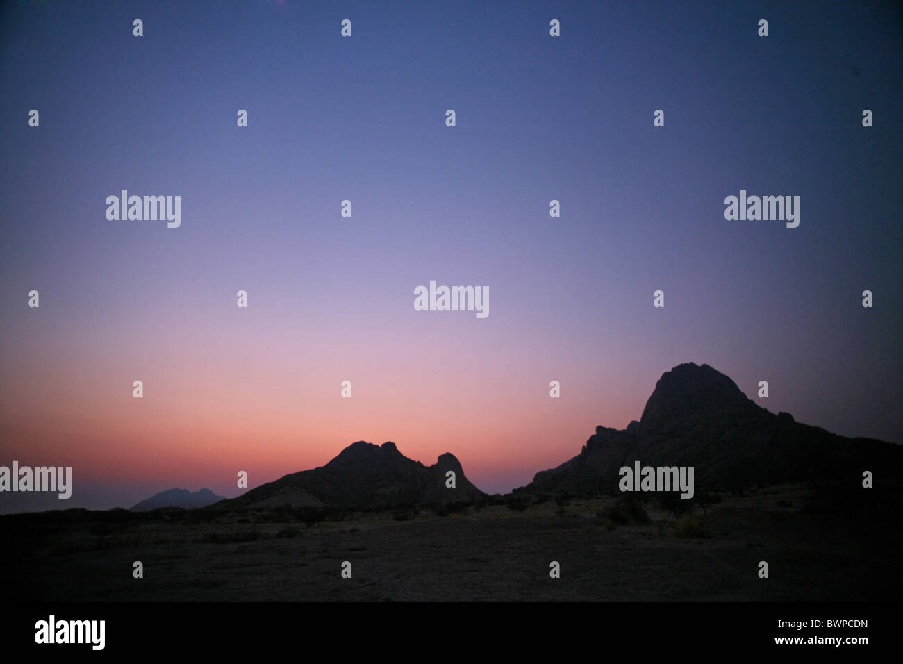 Namibia Africa Mount Spitzkoppe Summer 2007 Africa landscape nature mountain mountains desert sky twilight - Stock Image