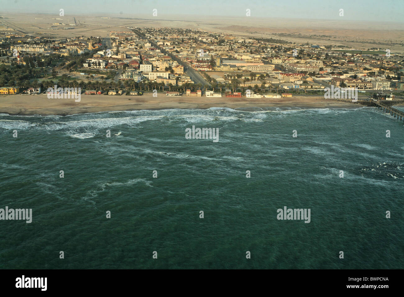 Namibia Africa Swakopmund Summer 2007 Africa aerial view landscape coast shore sea town city - Stock Image