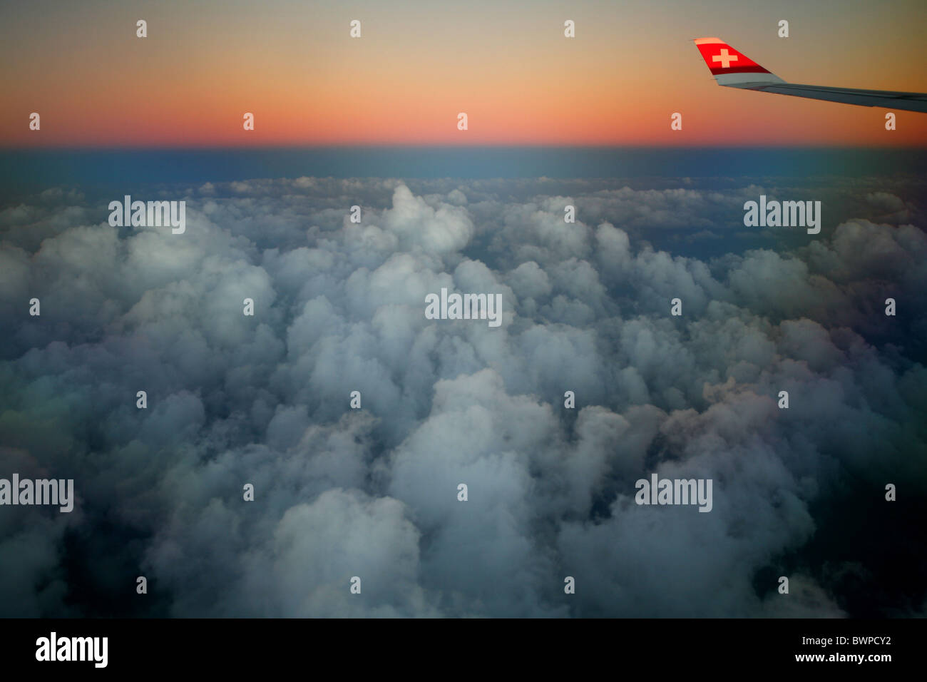 Namibia Africa Zurich airport flight Summer 2007 Africa clouds twilight dusk dawn aeroplane aircraft plane - Stock Image
