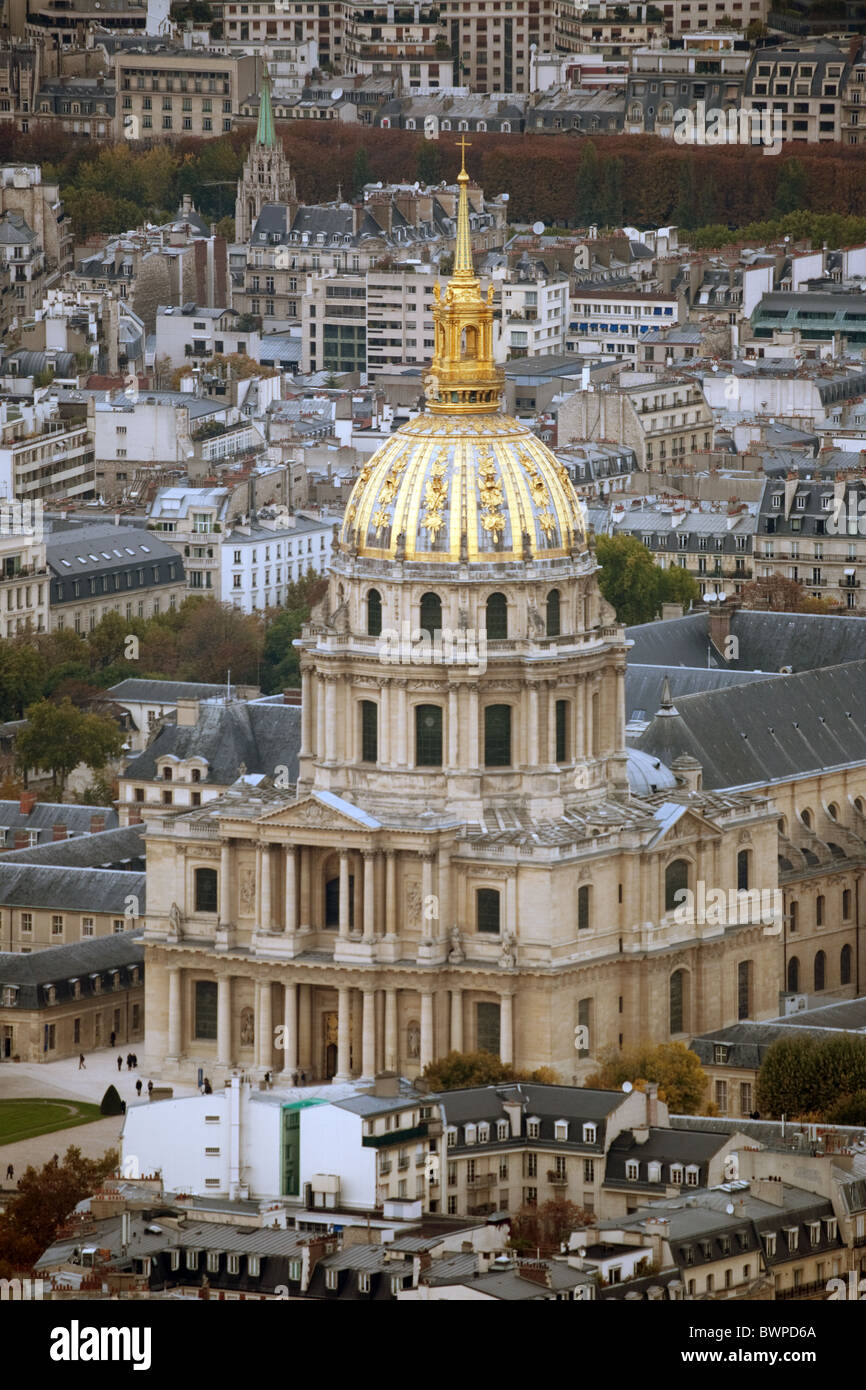 Eglise du Dome at the Hôtel des Invalides, seen from the top of the Montparnasse Tower,  Paris, France Stock Photo
