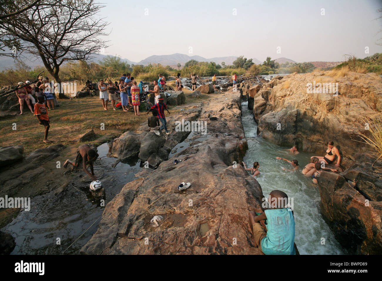 Namibia Africa Epupa Falls waterfalls Kunene River Camping Summer 2007 Africa holiday vacation tourism tour - Stock Image