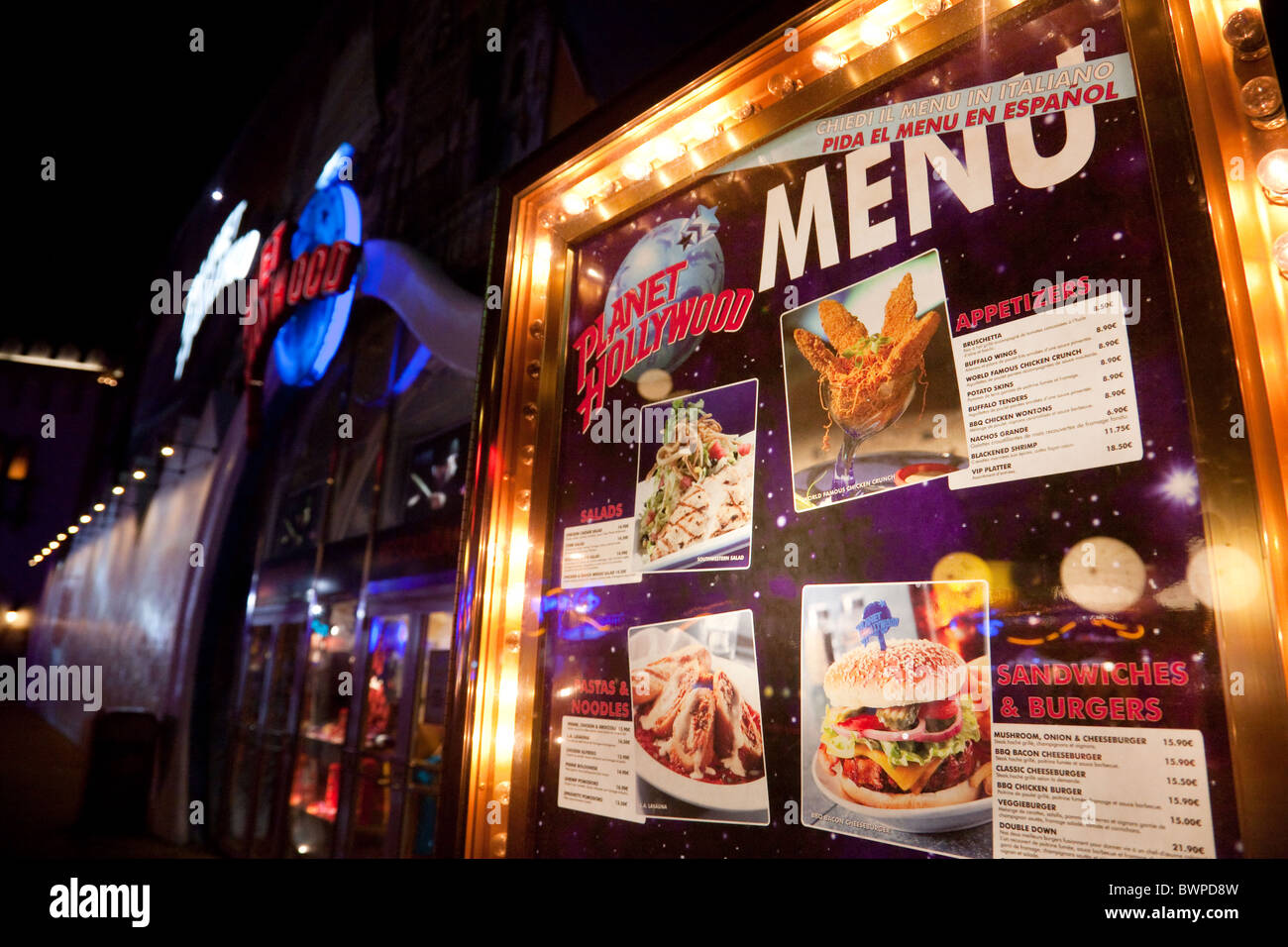 The Exterior Of The Planet Hollywood Restaurant With Its Menu Stock Photo Alamy