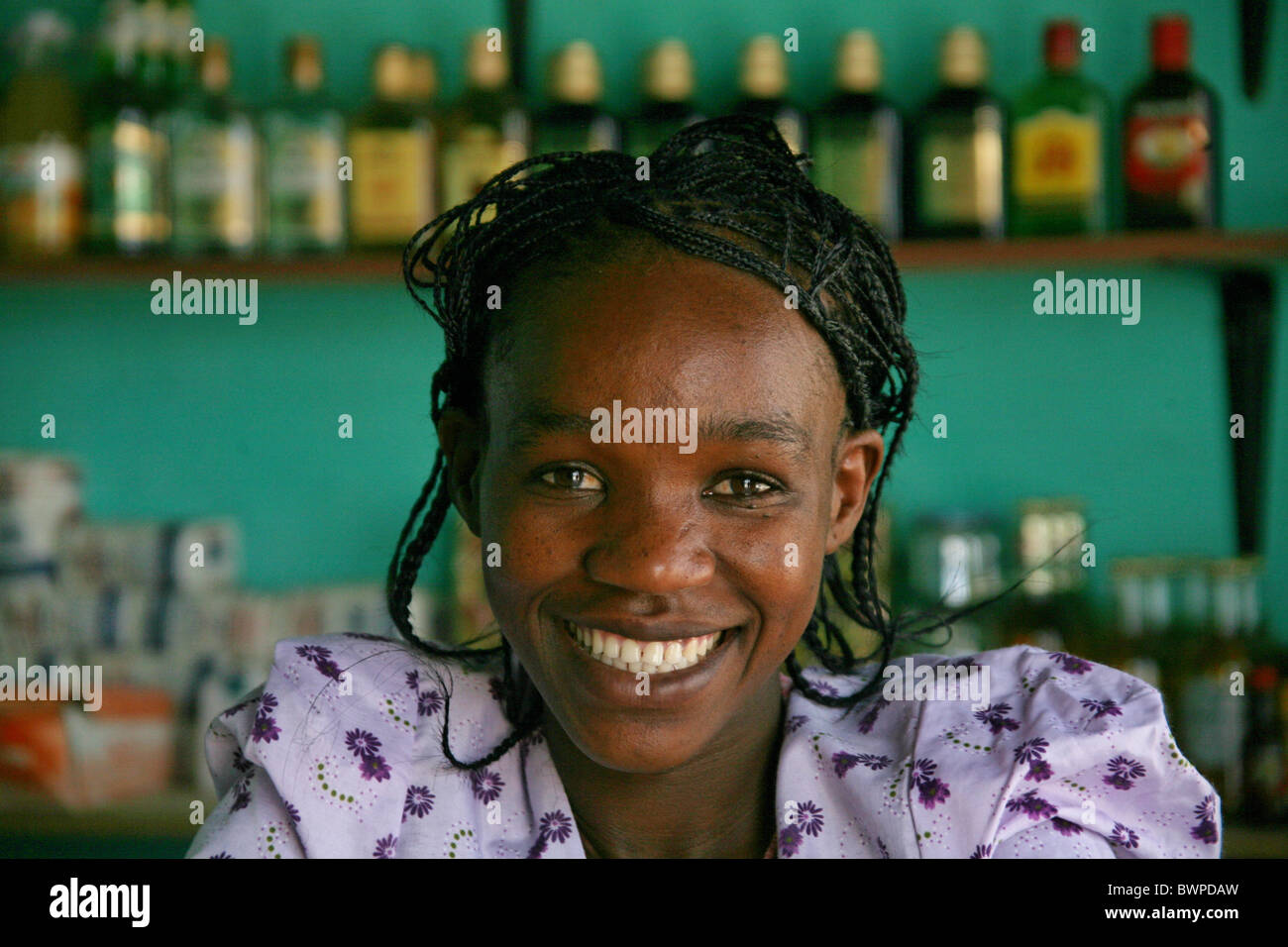 Namibia Africa Herero people Summer 2007 Africa local woman portrait smiling bar native natives - Stock Image