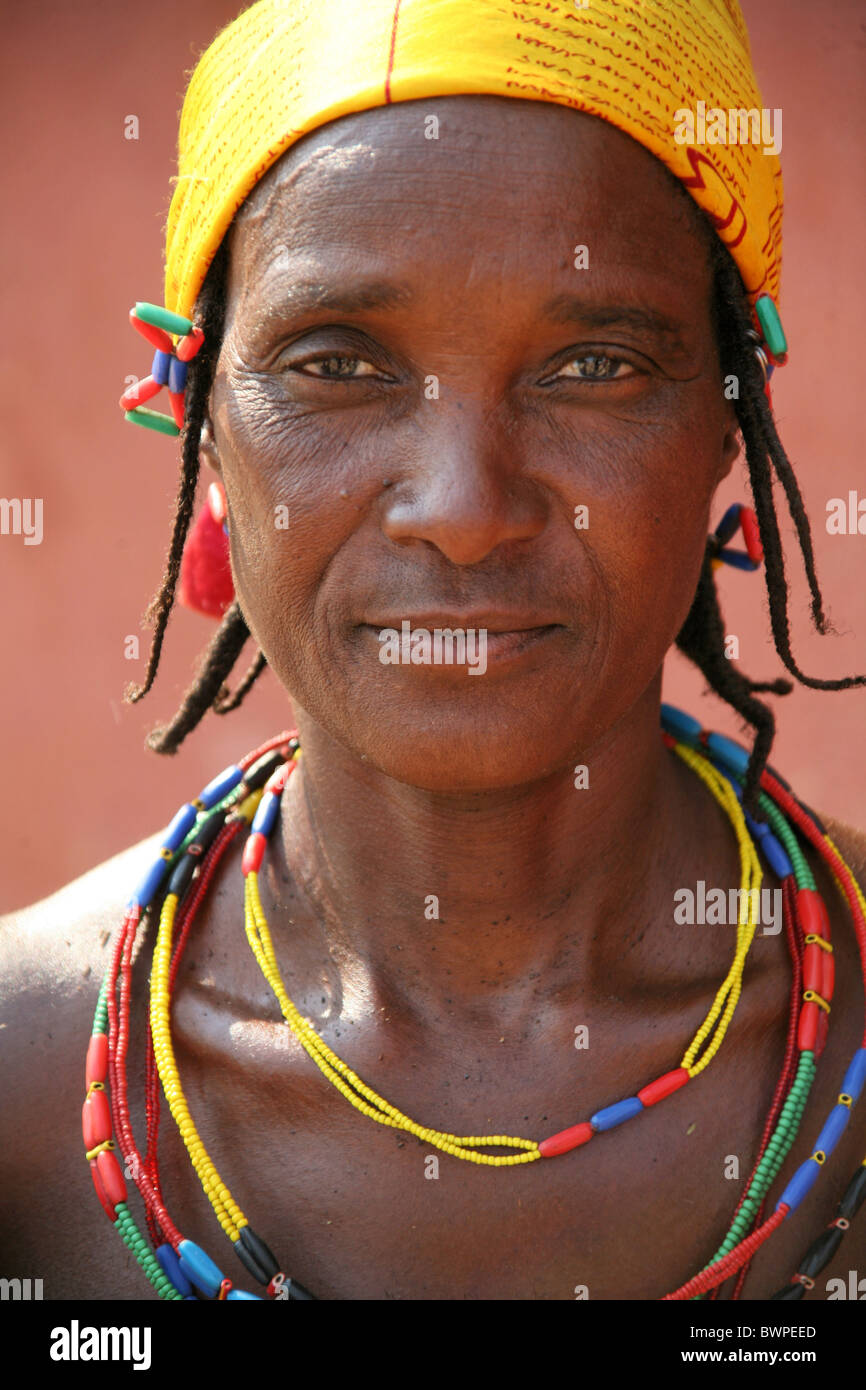 Namibia Africa Opuwo Summer 2007 Africa local women portrait traditional jewellery jewelry headscarf native - Stock Image
