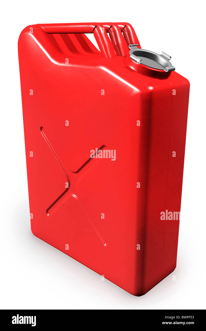 Red gas can, gasoline canister isolated on white background - Stock Image