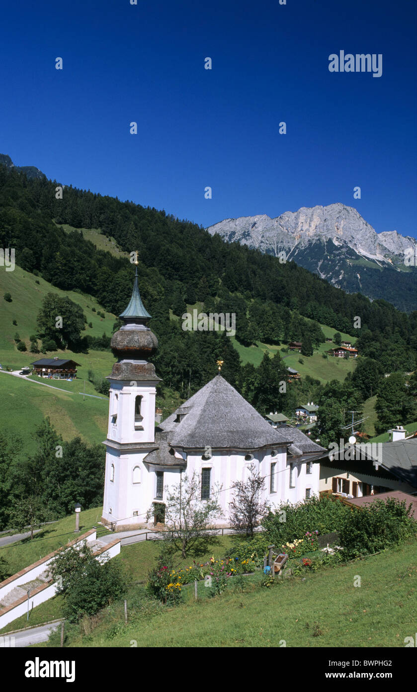 Germany Europe Bavaria Maria Gern pilgrimage church Berchtesgadener Land Europe church Kneifelspitze landscape - Stock Image