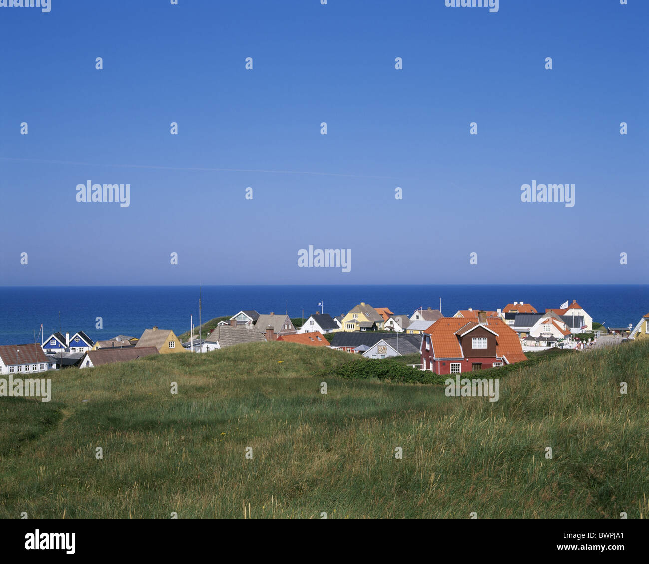 Denmark Europe Lonstrup Jutland Daenemark Denmark Europe dune dunes Europe coast North sea Mross Northern - Stock Image
