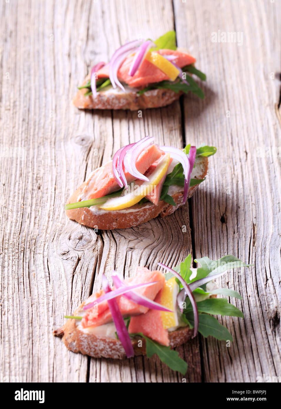 Salmon open faced sandwiches - Stock Image