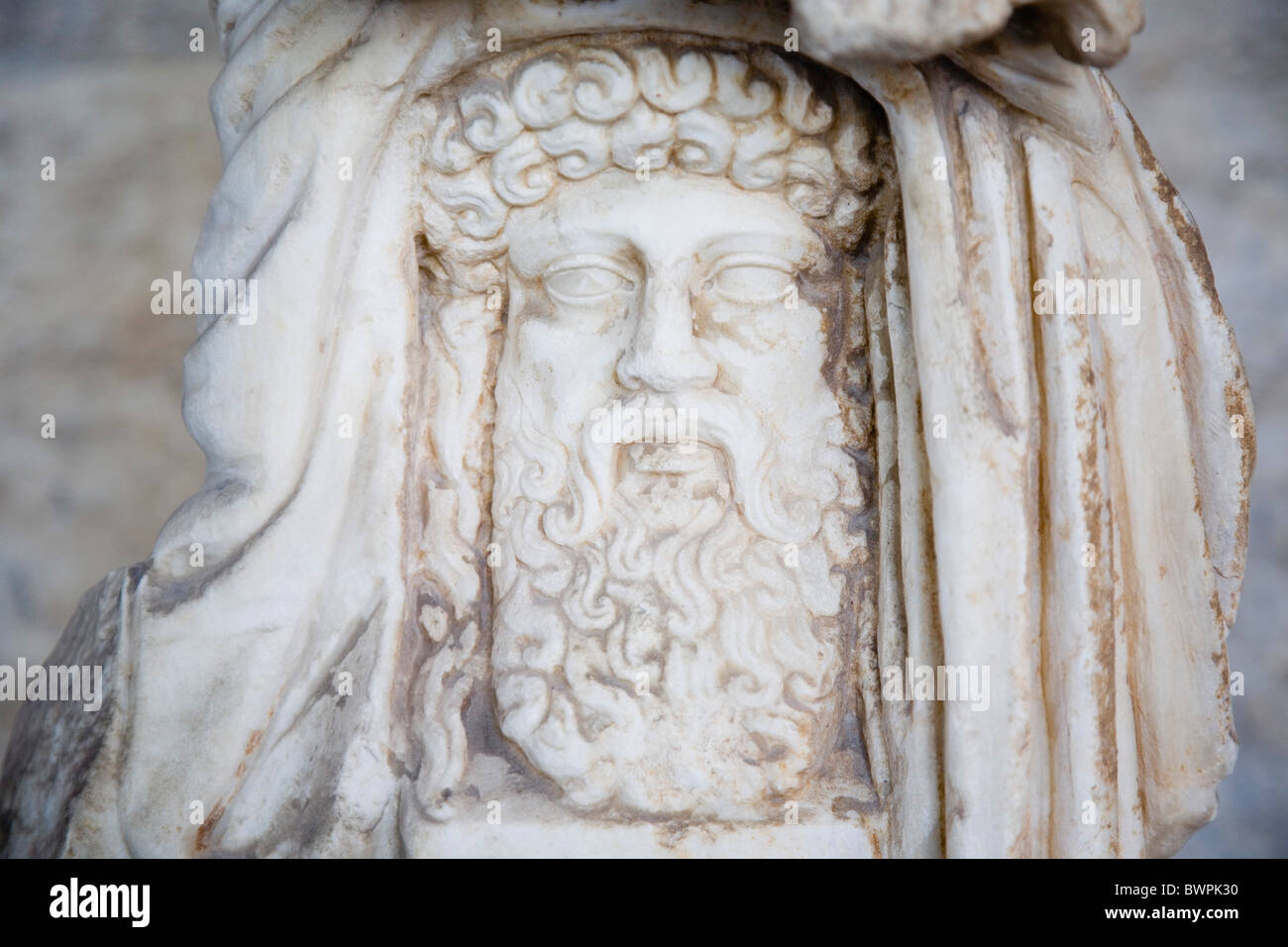 GREECE Attica Athens Carved, bearded head thought to be that of Zeus, King of the Gods, the ruler of Mount Olympus. - Stock Image